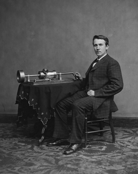 Edison with second phonograph, photographed by Mathew Brady in Washington, April 1878.