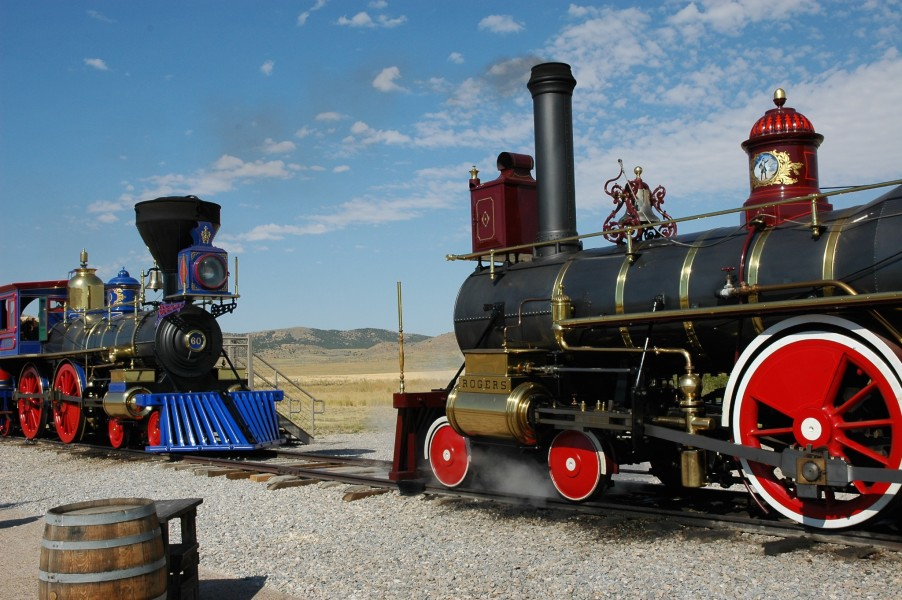 Replica locomotives reprising the famous alignment of 146 years ago today. Golden Spike National Historic Site (Utah) August 25, 2005 Click image for larger version.